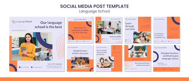 Коллекция постов в instagram для языковой школы Premium Psd