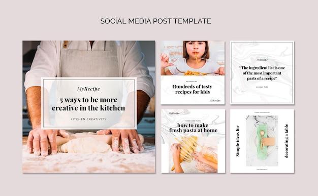 요리를 배우기위한 instagram 게시물 모음 무료 PSD 파일
