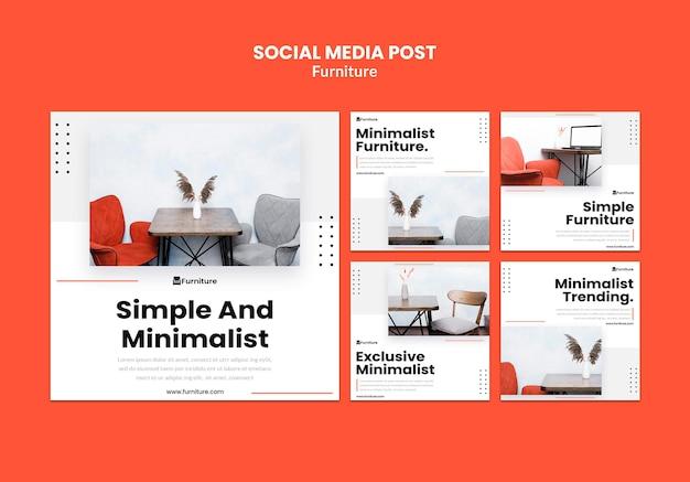 Коллекция постов в instagram о минималистском дизайне мебели Бесплатные Psd