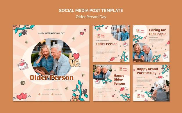 노인 지원 및 관리를위한 instagram 게시물 모음 무료 PSD 파일