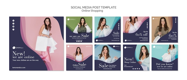 Коллекция постов в instagram для онлайн-продажи модной одежды Premium Psd