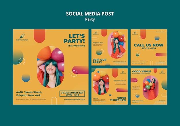 여자와 풍선으로 파티 축하를위한 instagram 게시물 모음 무료 PSD 파일