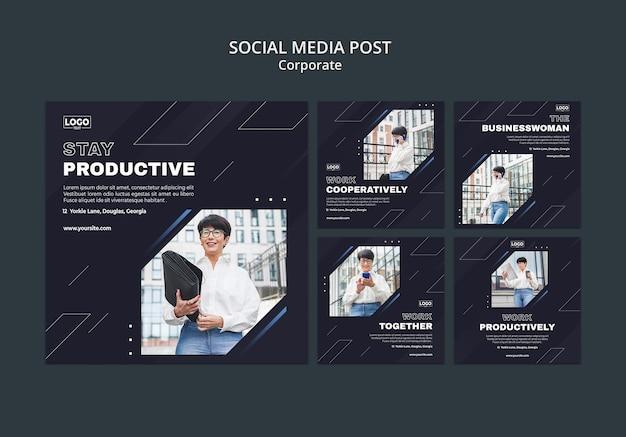 전문 비즈니스 기업을위한 instagram 게시물 모음 무료 PSD 파일