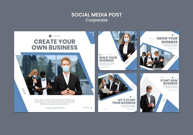 전문 비즈니스를위한 instagram 게시물 모음 무료 PSD 파일