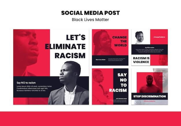 Коллекция постов в instagram для расизма и насилия Бесплатные Psd