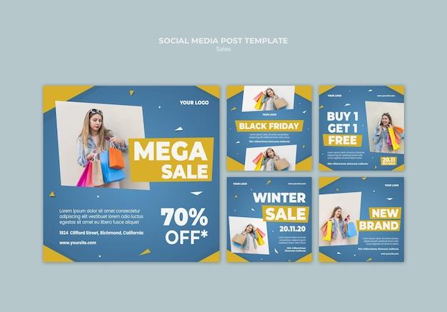 소매 판매용 instagram 게시물 모음 무료 PSD 파일