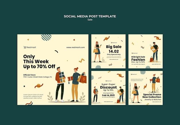 사람과 쇼핑백과 함께 판매되는 instagram 게시물 컬렉션 무료 PSD 파일