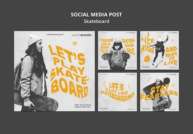 여자와 스케이트 보드를위한 instagram 게시물 모음 무료 PSD 파일