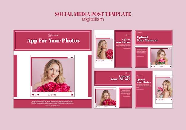 Коллекция постов в instagram для загрузки фотографий в социальные сети Бесплатные Psd