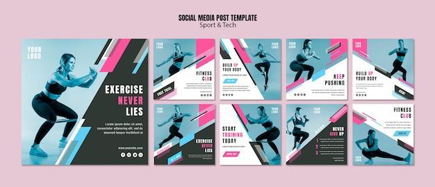 Коллекция постов в instagram для спорта и фитнеса Бесплатные Psd