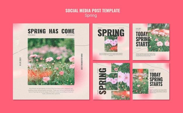 Instagramは花と春のコレクションを投稿します 無料 Psd