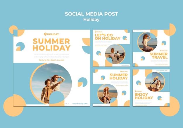 Instagramは夏休みのコレクションを投稿します 無料 Psd