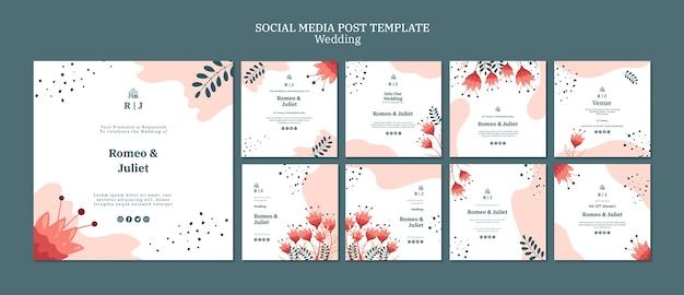 꽃과 결혼을위한 instagram 게시물 모음 무료 PSD 파일