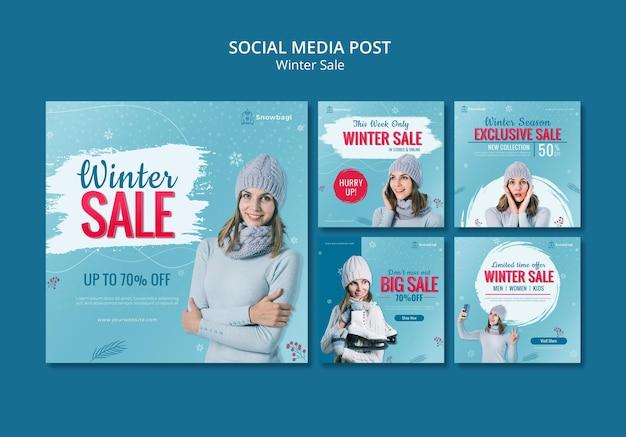 여자와 눈송이로 겨울 세일을위한 instagram 게시물 모음 무료 PSD 파일