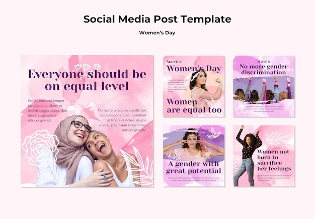 Коллекция постов в instagram для празднования женского дня Бесплатные Psd