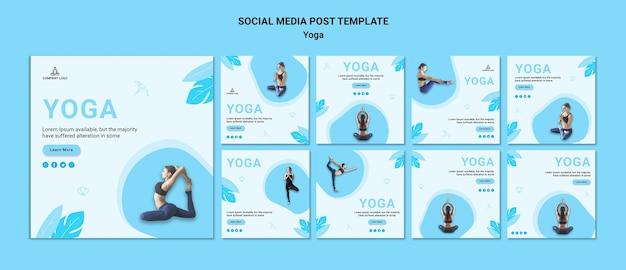 Коллекция постов в instagram для упражнений йоги Premium Psd