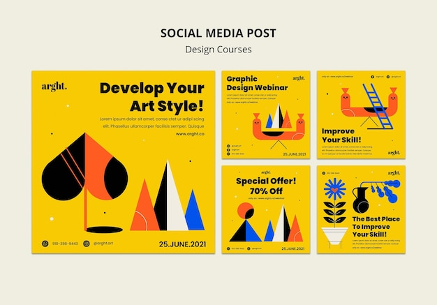 Instagram posts collection for graphic design classes Free Psd
