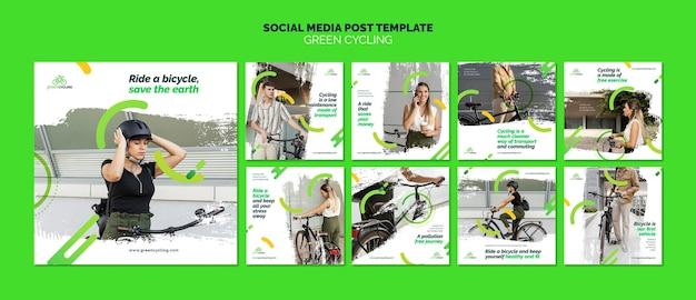 Instagram posts collection for green biking Premium Psd