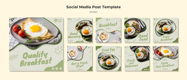 Instagram posts collection for healthy breakfast Free Psd