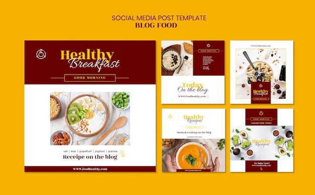 Instagram posts collection for healthy food recipes blog Free Psd