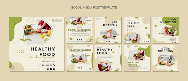 Instagram posts collection for healthy nutrition Premium Psd