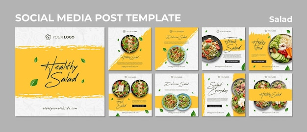 Instagram posts collection for healthy salad lunch Premium Psd