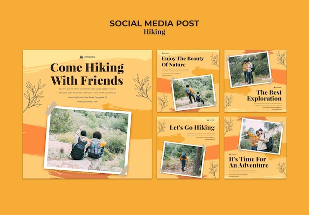 Instagram posts collection for hiking Free Psd