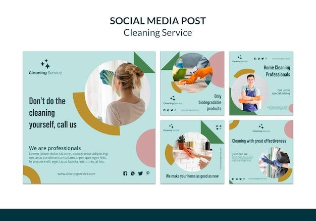 Raccolta di post su instagram per un'impresa di pulizie domestiche Psd Gratuite