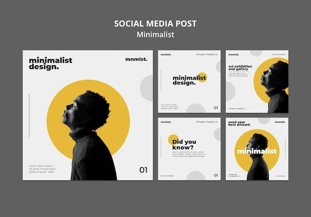 Коллекция постов в инстаграм в минималистском стиле для художественной галереи с мужчиной Бесплатные Psd