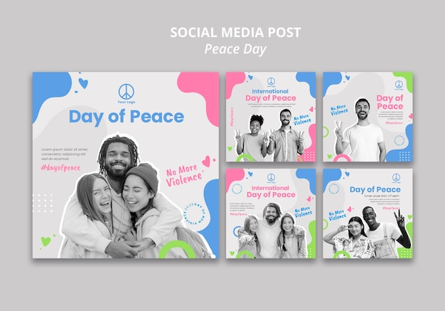 Instagram posts collection for international peace day celebration Free Psd