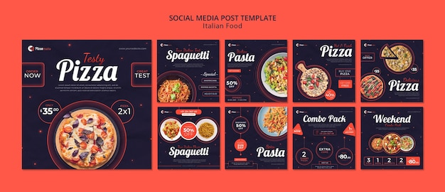 Instagram posts collection for italian food restaurant Premium Psd