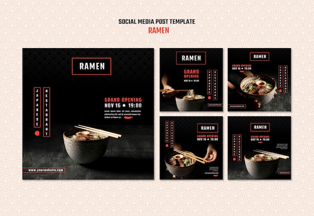 Instagram posts collection for japanese ramen restaurant Free Psd