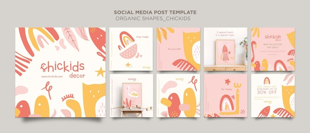 Instagram posts collection for kids interior decor store Free Psd