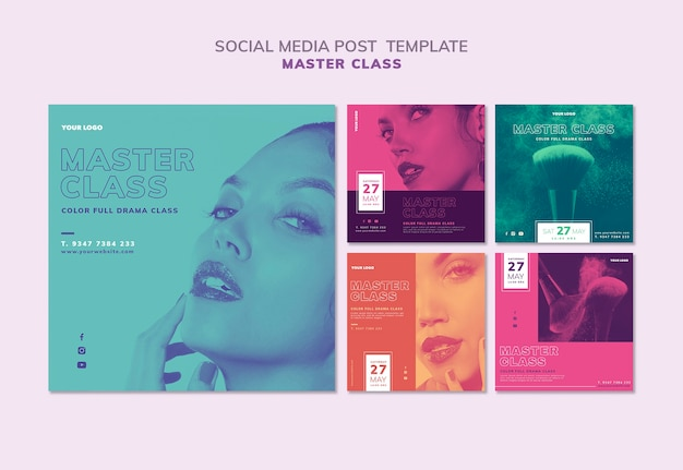 Instagram posts collection for masterclass Free Psd