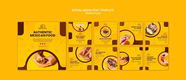Instagram posts collection for mexican food restaurant Free Psd