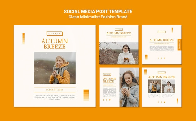 Instagram posts collection for minimalist autumn fashion brand Free Psd