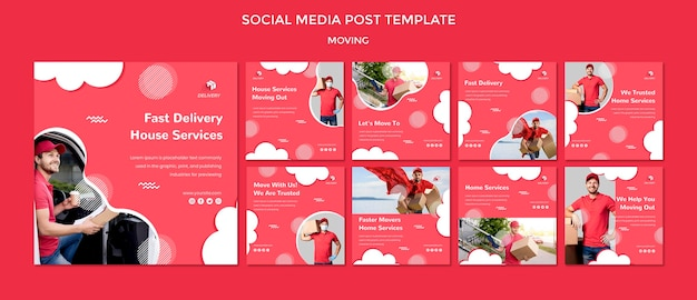 Instagram posts collection for moving company Free Psd