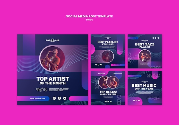 Instagram posts collection for music with male jazz player and saxophone Free Psd