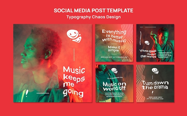 Instagram posts collection for music with man and fog Free Psd