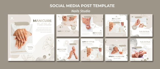 Instagram posts collection for nail salon Premium Psd