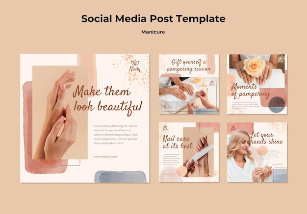 Instagram posts collection for nail salon Free Psd