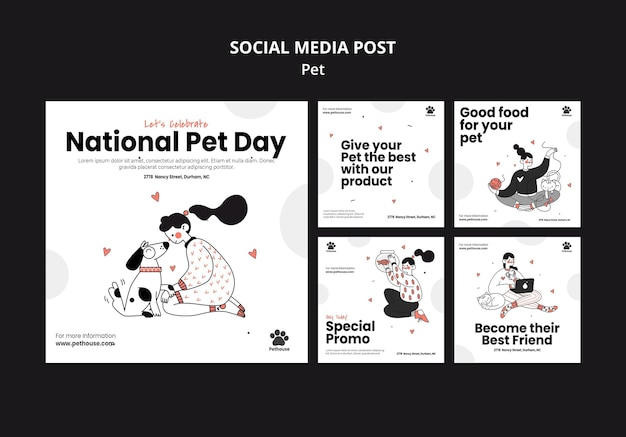 Instagram posts collection for national pet day with female owner and pet Free Psd