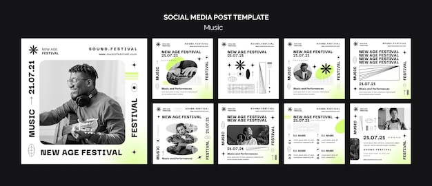 Instagram posts collection for new age music festival Premium Psd