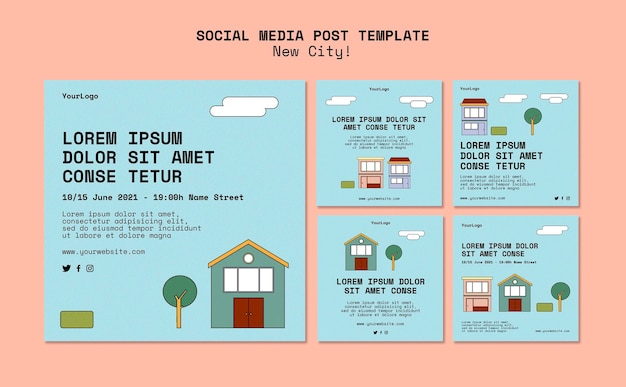 Instagram posts collection for new city with buildings Free Psd