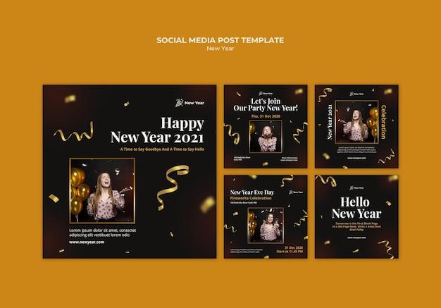 Raccolta di post di instagram per la festa di capodanno con donna e coriandoli Psd Gratuite