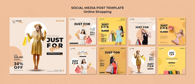 Instagram posts collection for online fashion sale Free Psd