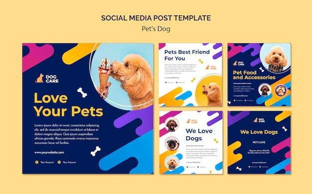 Instagram posts collection for pet shop business Free Psd