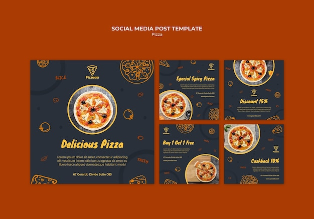 Instagram posts collection for pizza restaurant Free Psd