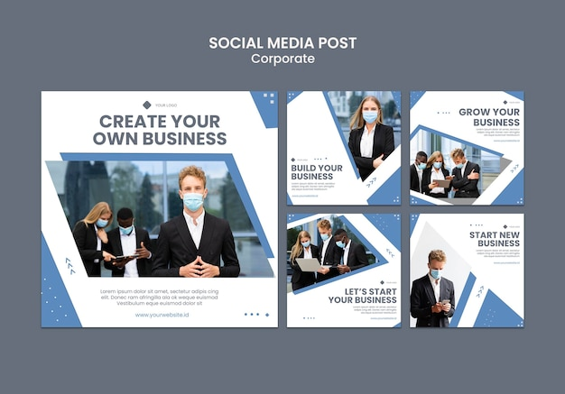 Instagram posts collection for professional business Free Psd