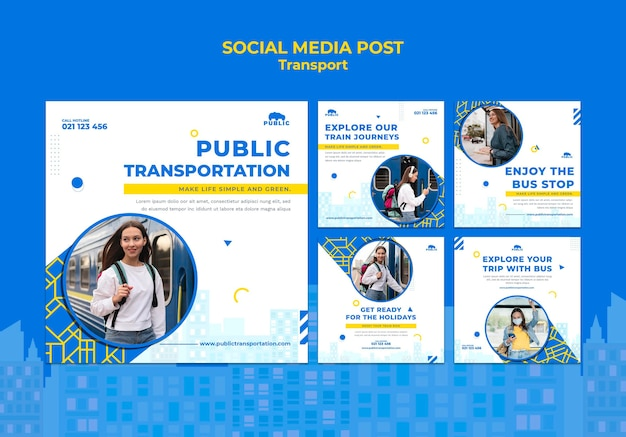 Instagram posts collection for public transportation with female commuter Free Psd
